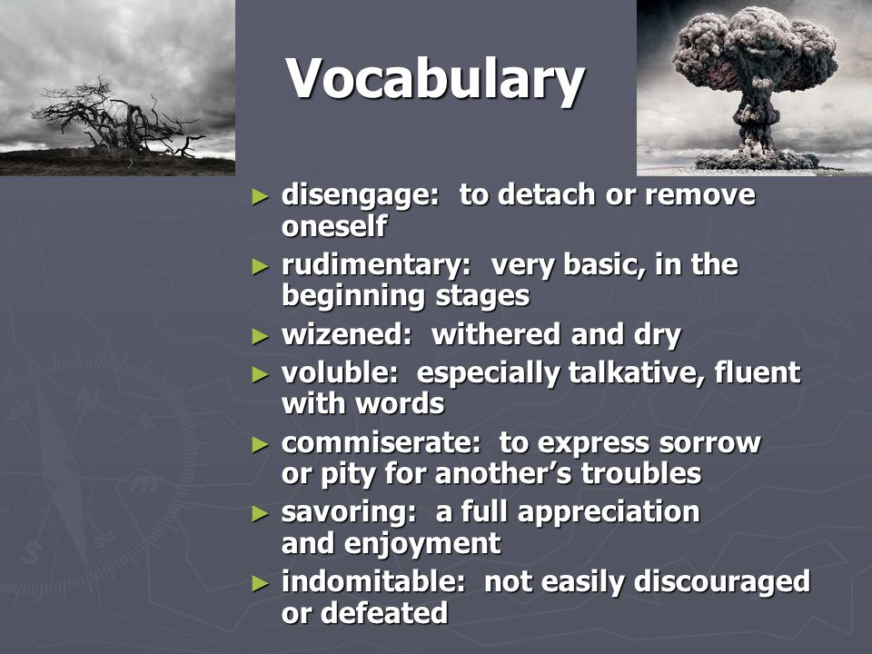 Vocabulary disengage: to detach or remove oneself