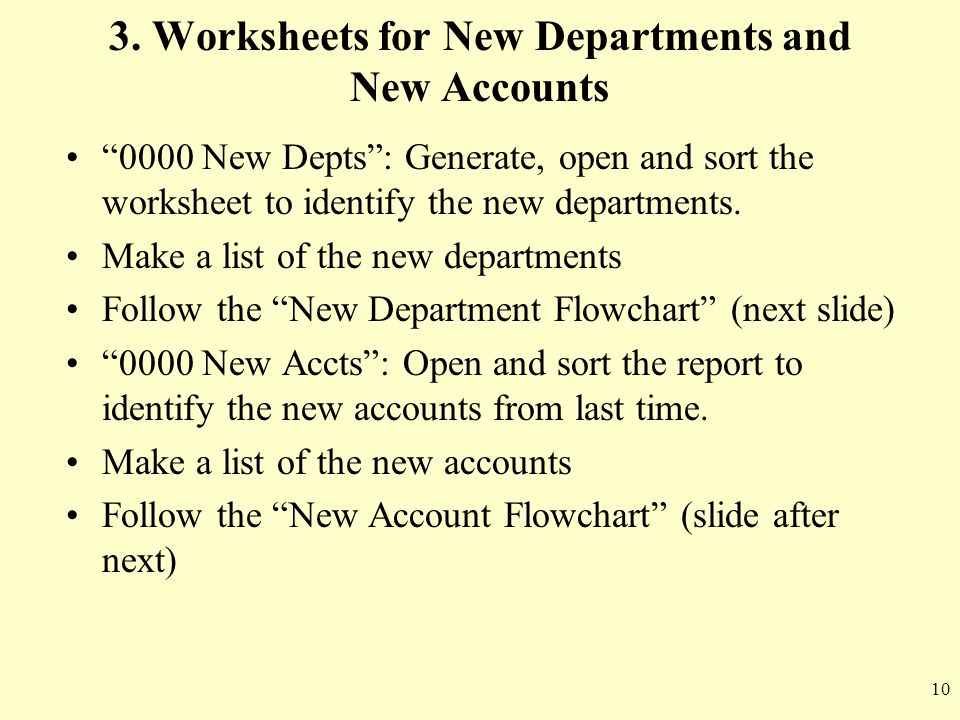 3. Worksheets for New Departments and New Accounts
