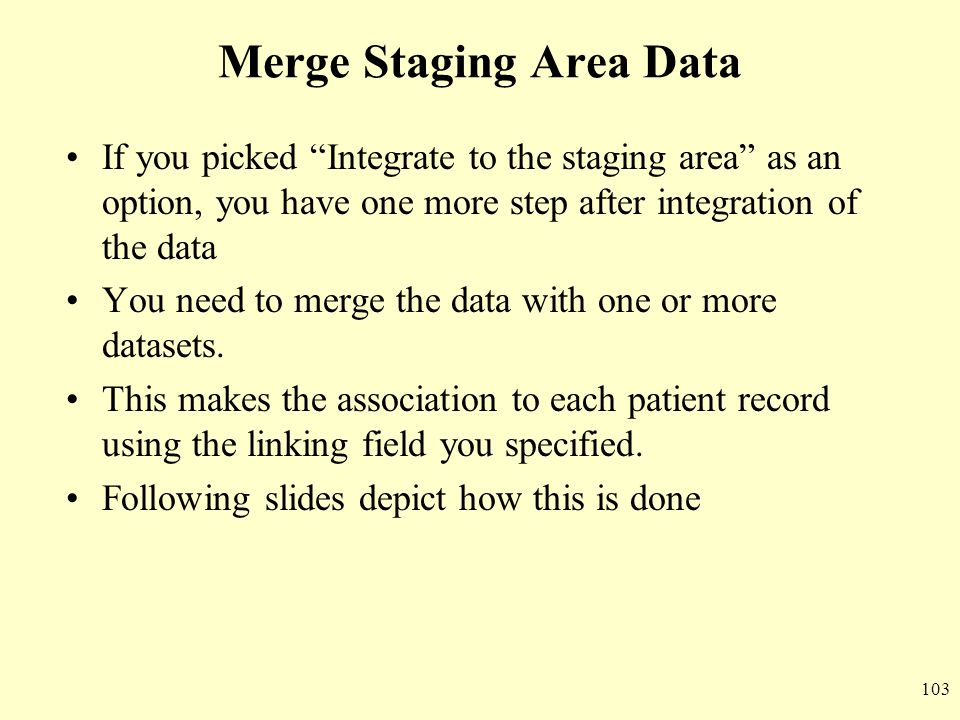 Merge Staging Area Data
