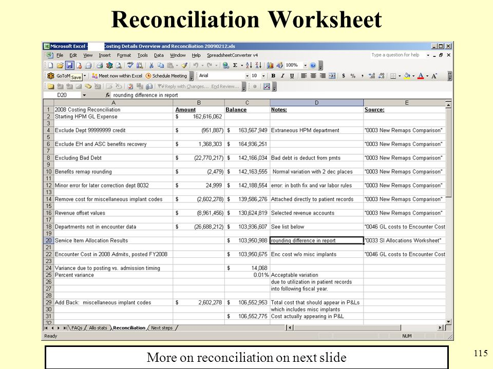 Reconciliation Worksheet