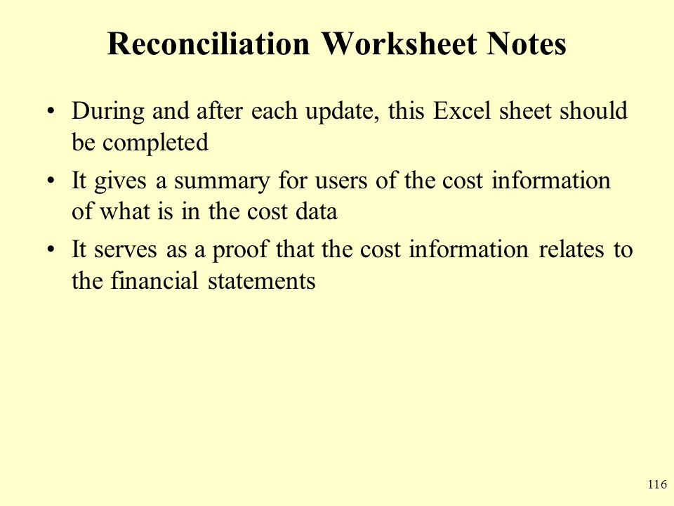 Reconciliation Worksheet Notes