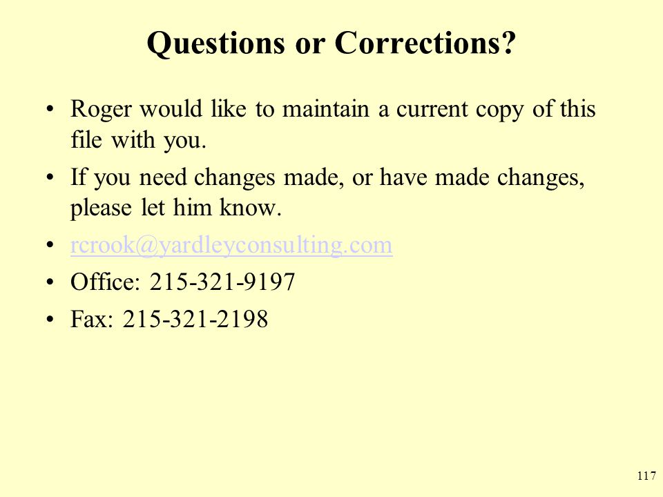 Questions or Corrections