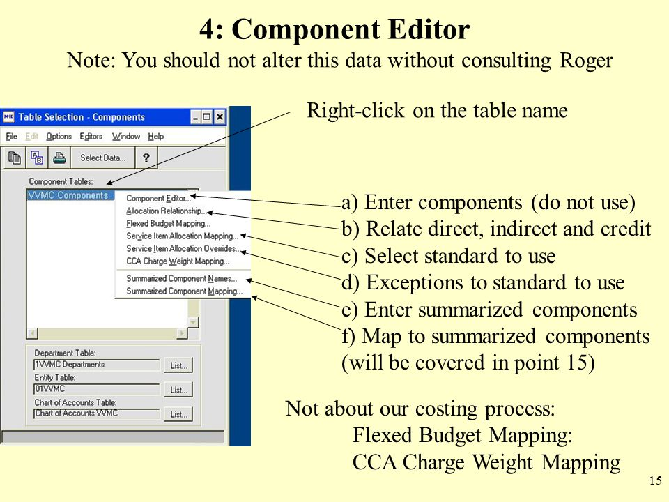 4: Component Editor Note: You should not alter this data without consulting Roger. Right-click on the table name.