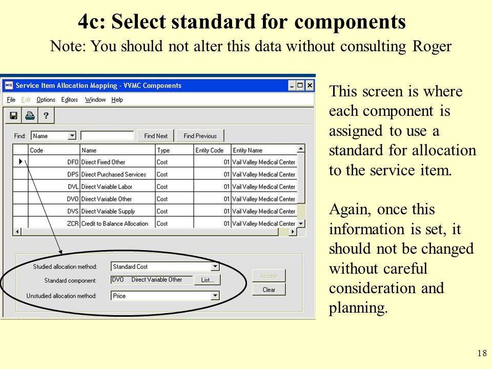 4c: Select standard for components