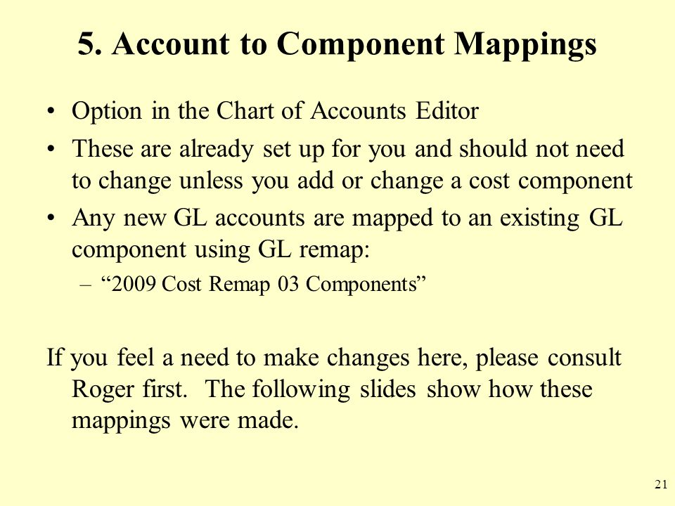 5. Account to Component Mappings