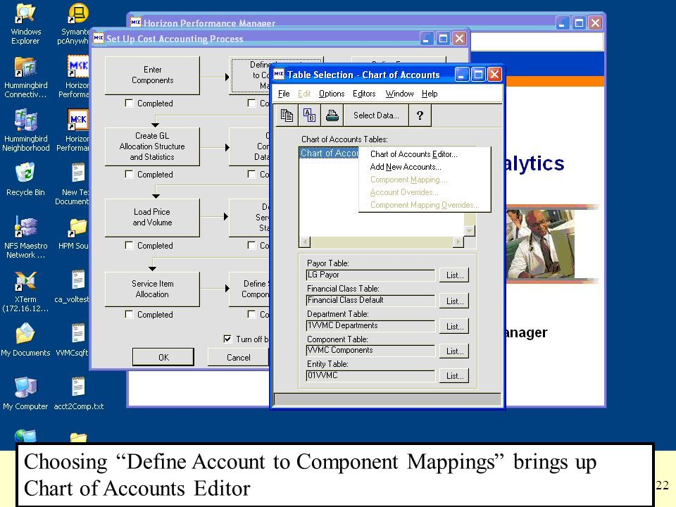Choosing Define Account to Component Mappings brings up Chart of Accounts Editor