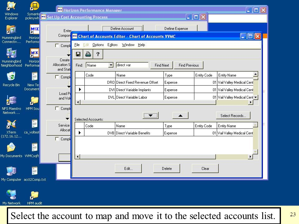 Select the account to map and move it to the selected accounts list.