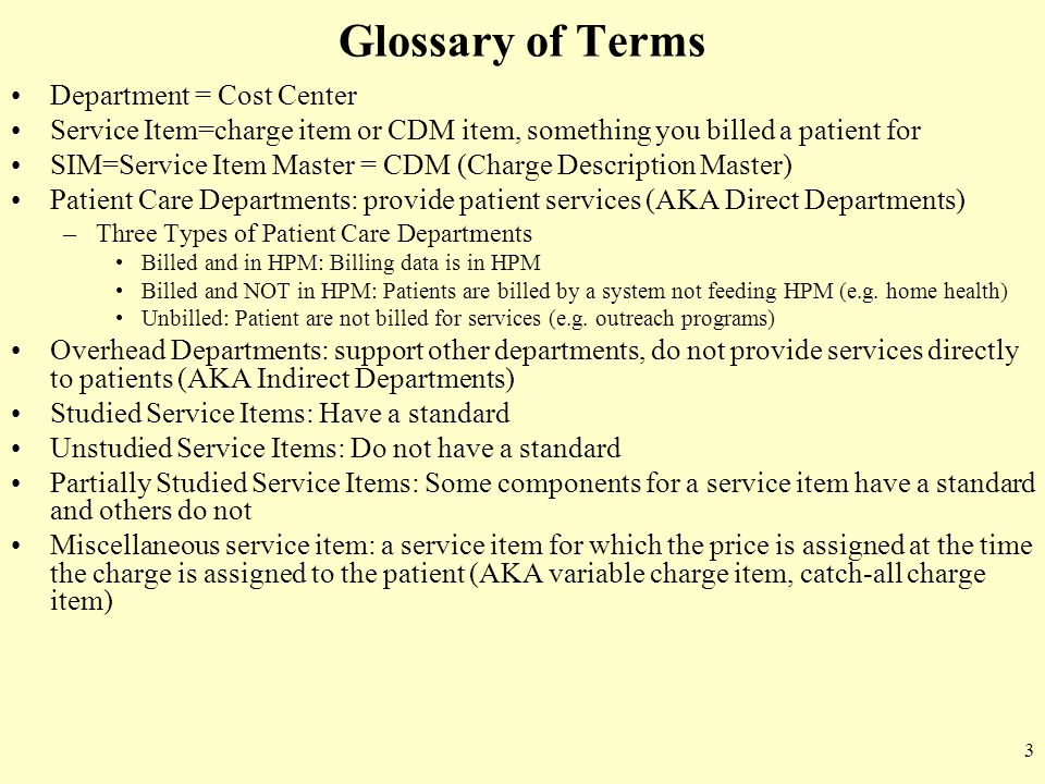 Glossary of Terms Department = Cost Center