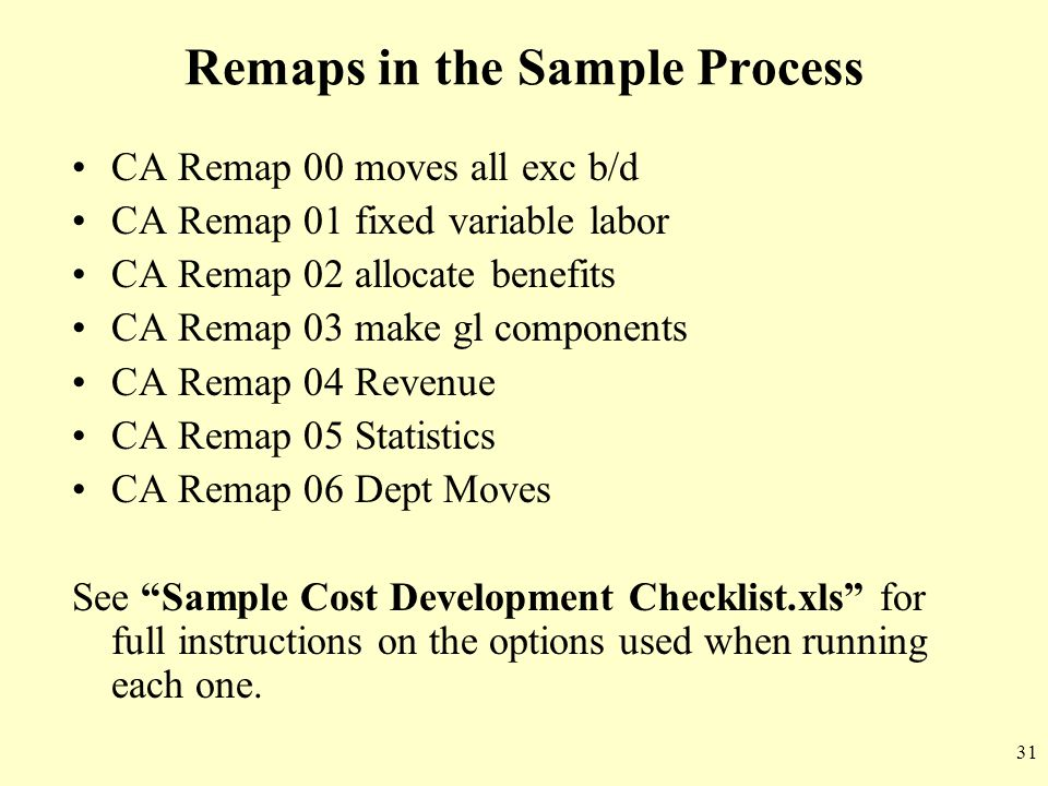 Remaps in the Sample Process