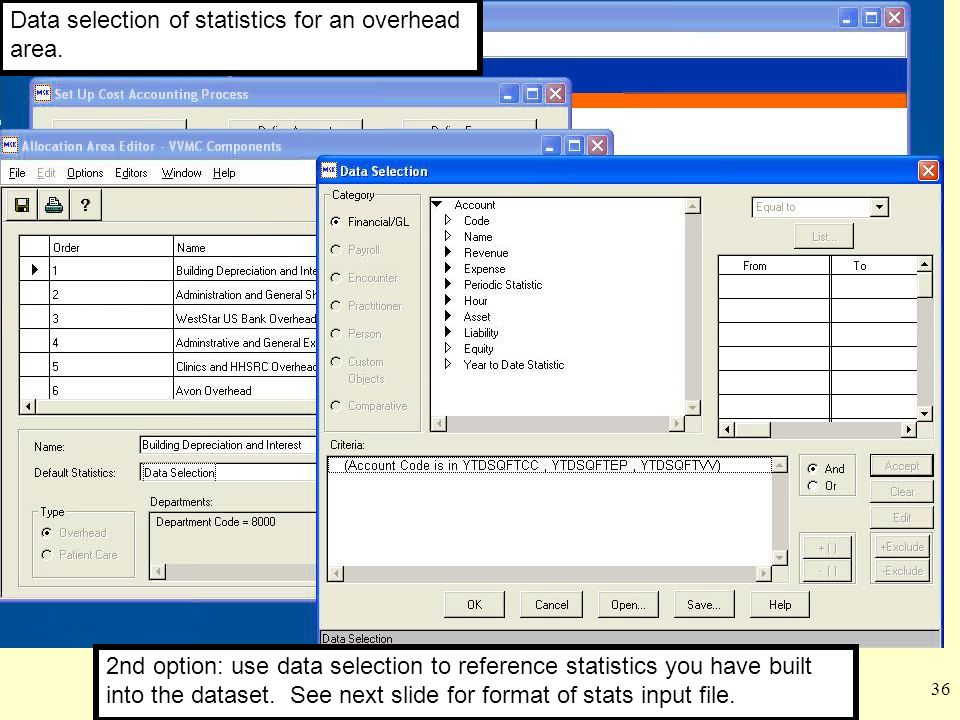 Data selection of statistics for an overhead area.