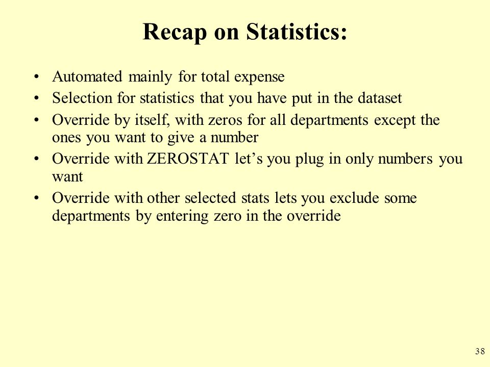 Recap on Statistics: Automated mainly for total expense