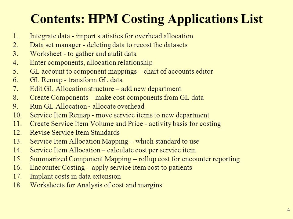 Contents: HPM Costing Applications List