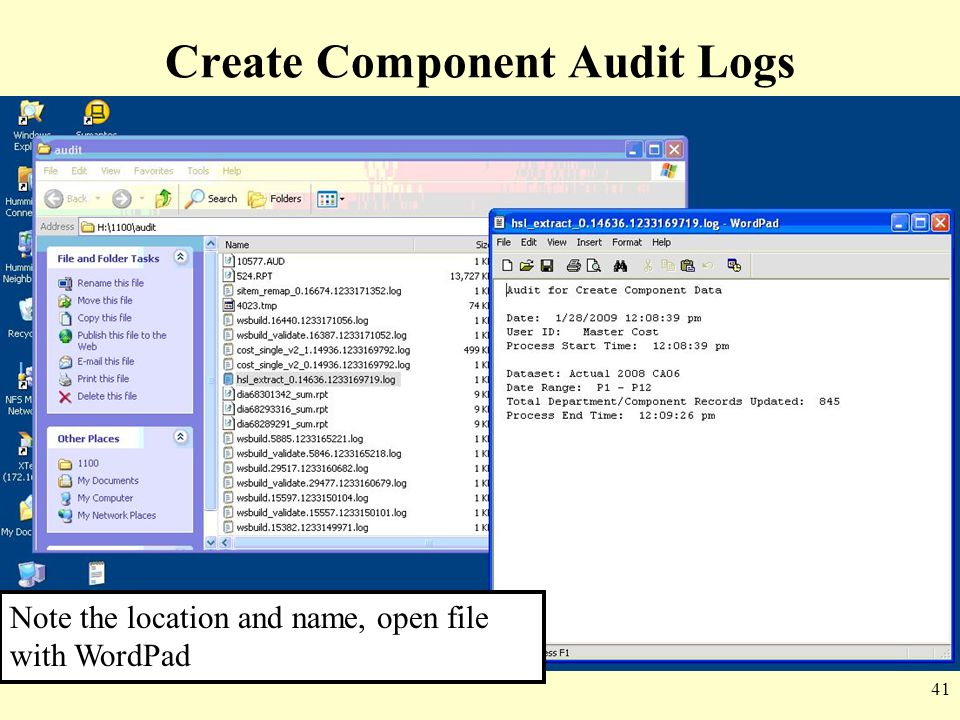 Create Component Audit Logs
