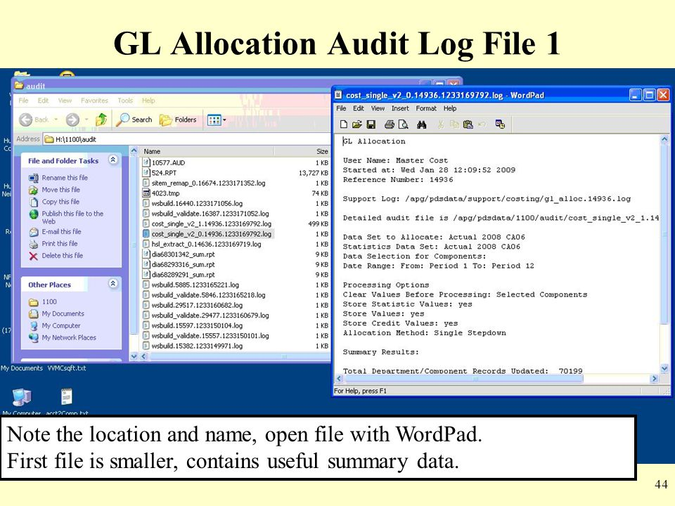 GL Allocation Audit Log File 1