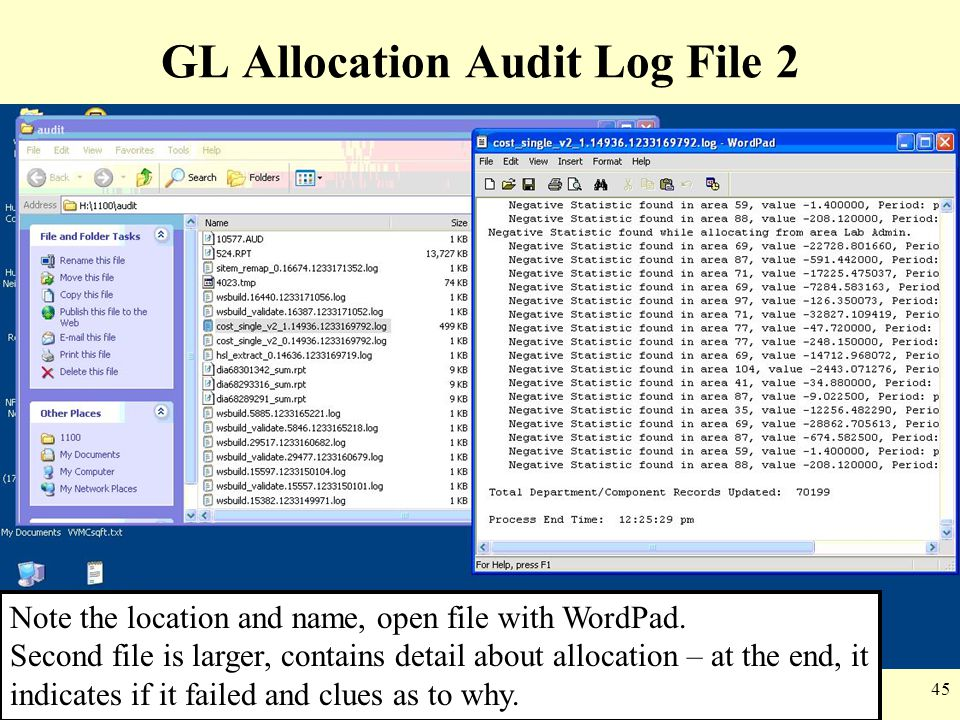 GL Allocation Audit Log File 2