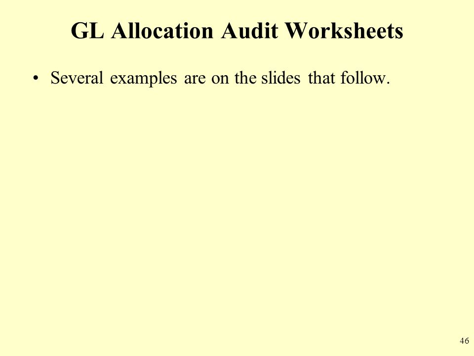GL Allocation Audit Worksheets