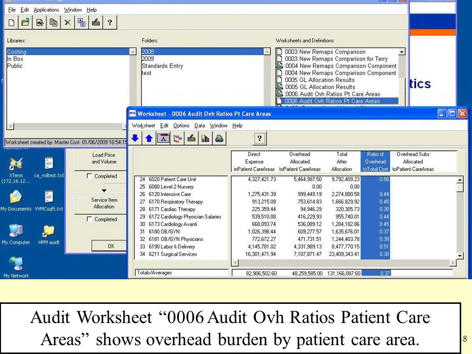 Audit Worksheet 0006 Audit Ovh Ratios Patient Care Areas shows overhead burden by patient care area.