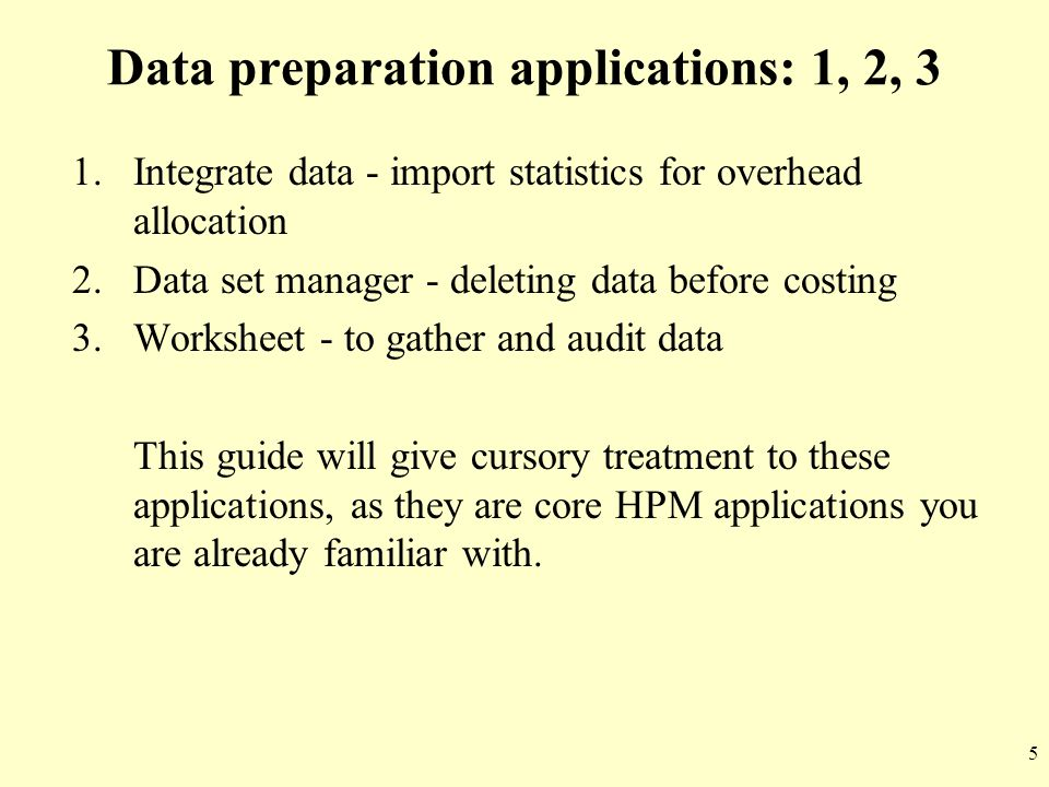 Data preparation applications: 1, 2, 3