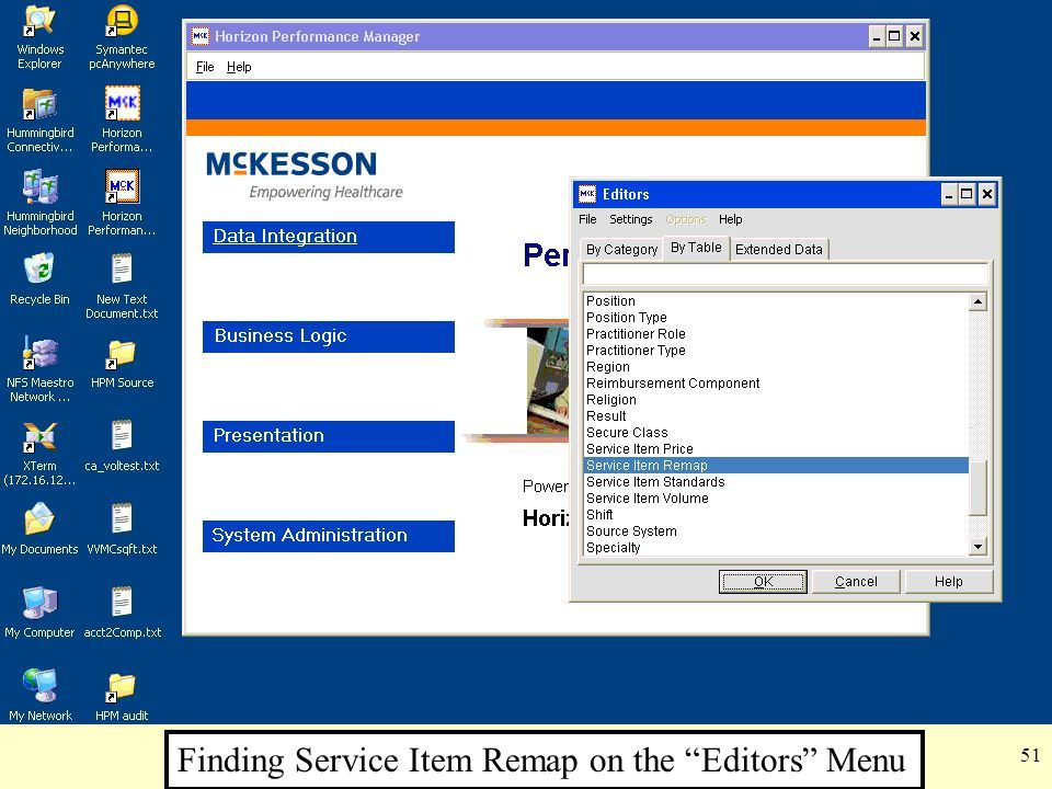 Finding Service Item Remap on the Editors Menu