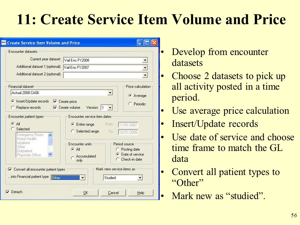 11: Create Service Item Volume and Price