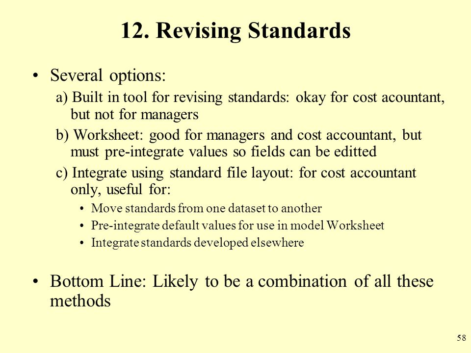 12. Revising Standards Several options: