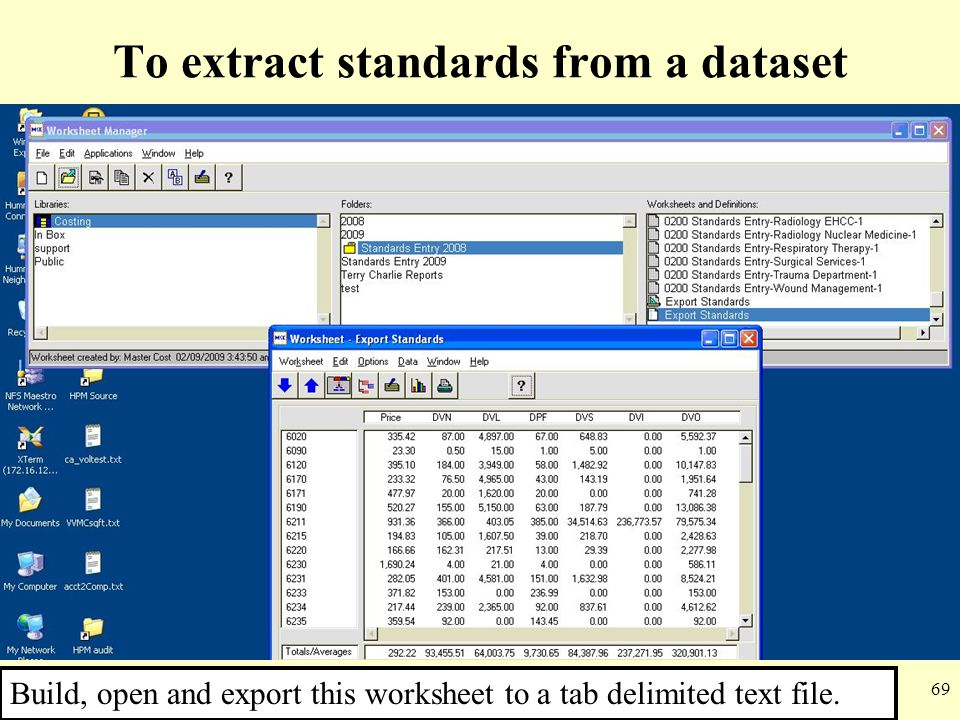 To extract standards from a dataset