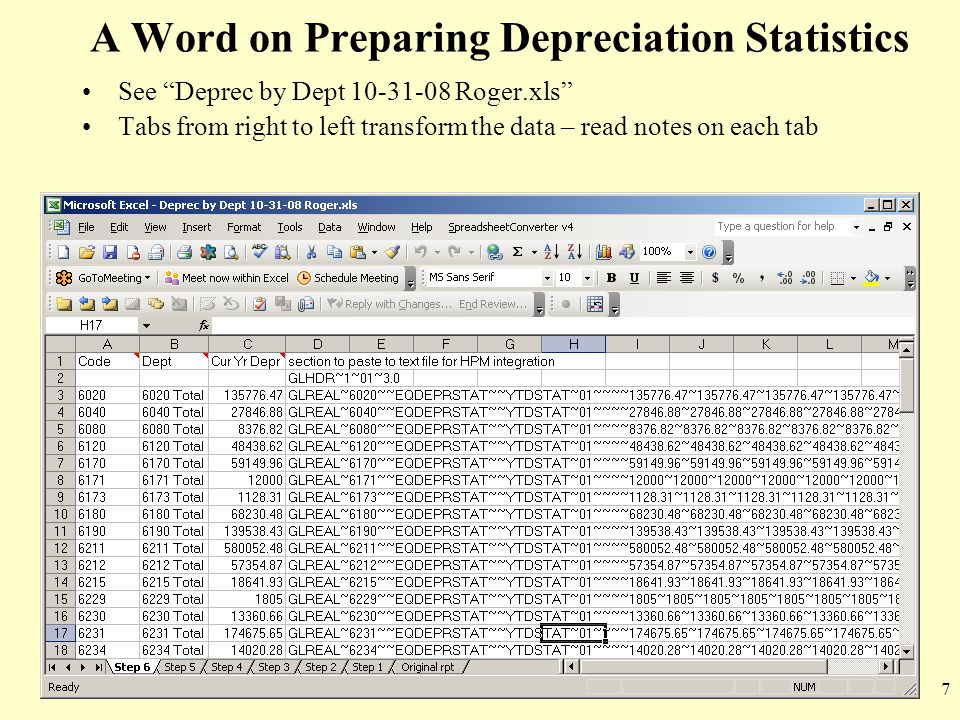 A Word on Preparing Depreciation Statistics