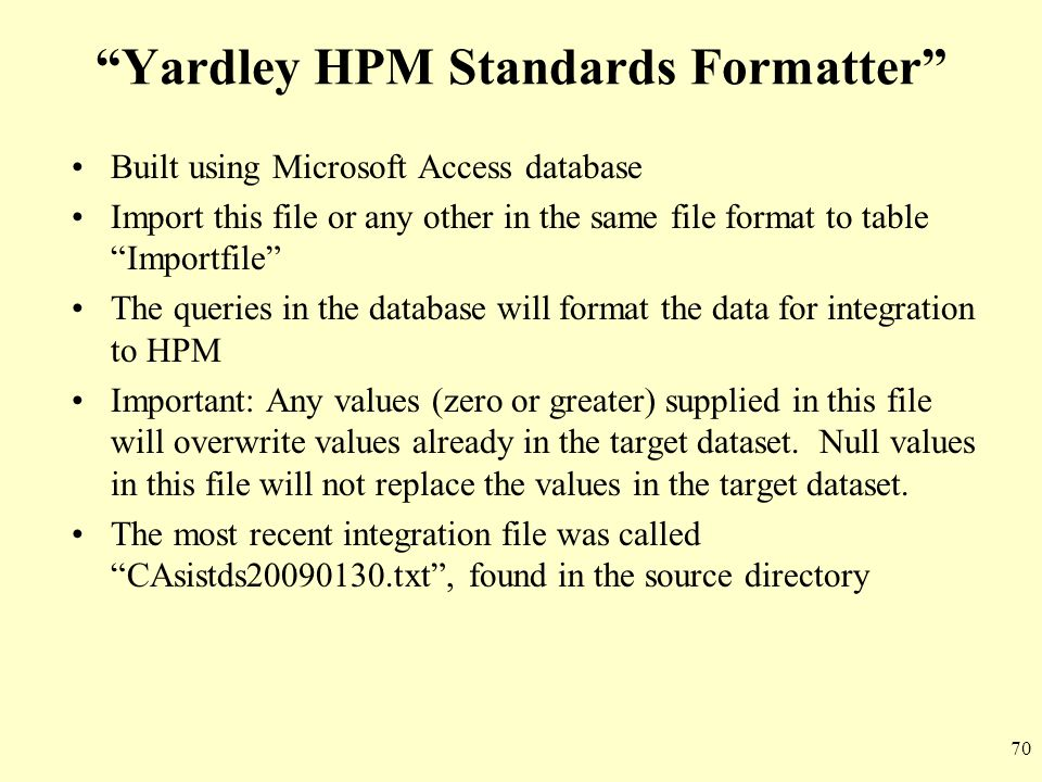 Yardley HPM Standards Formatter