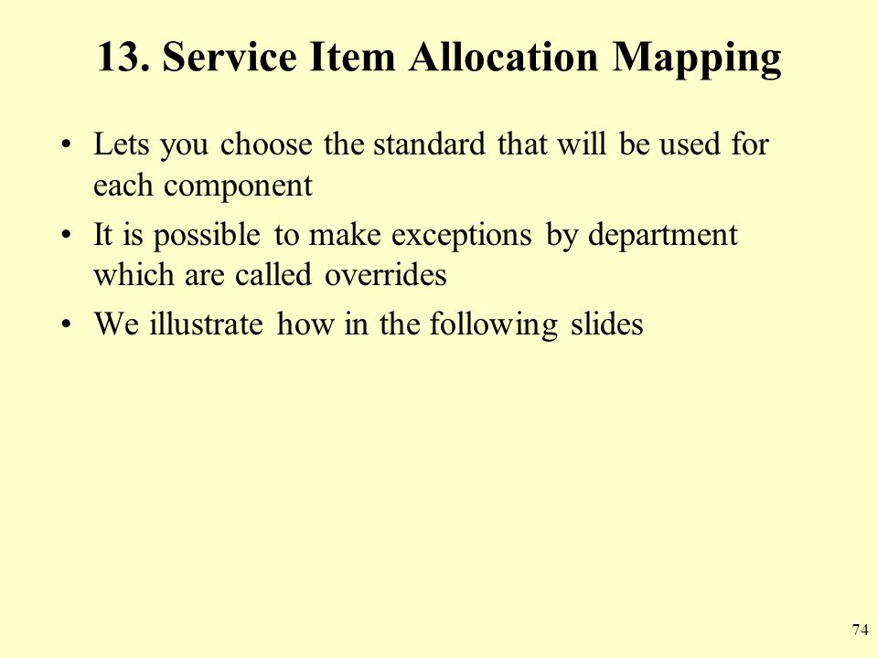 13. Service Item Allocation Mapping
