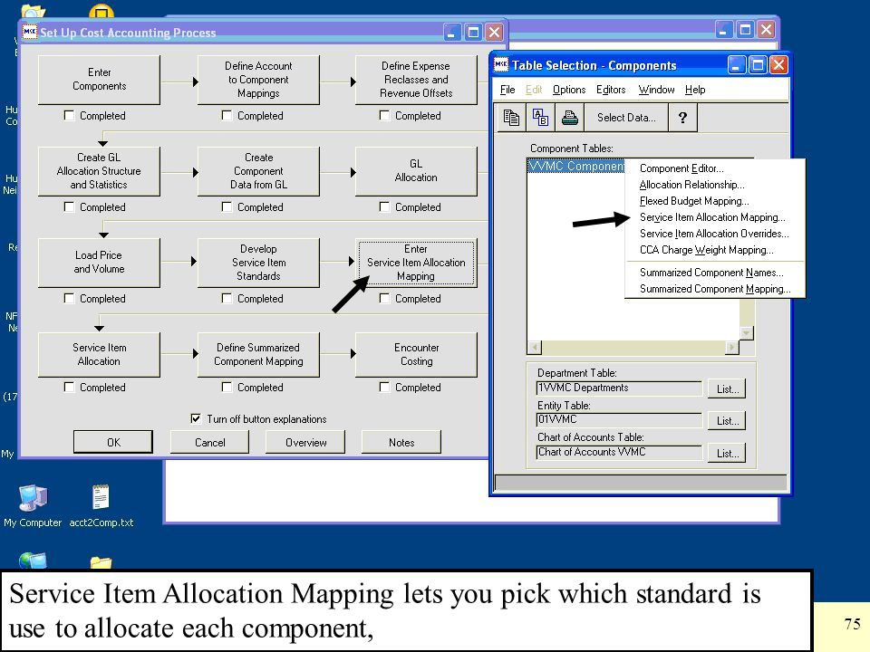 Service Item Allocation Mapping lets you pick which standard is use to allocate each component,