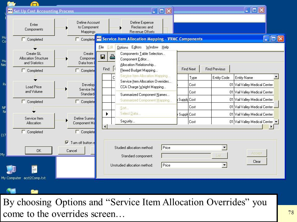 By choosing Options and Service Item Allocation Overrides you come to the overrides screen…