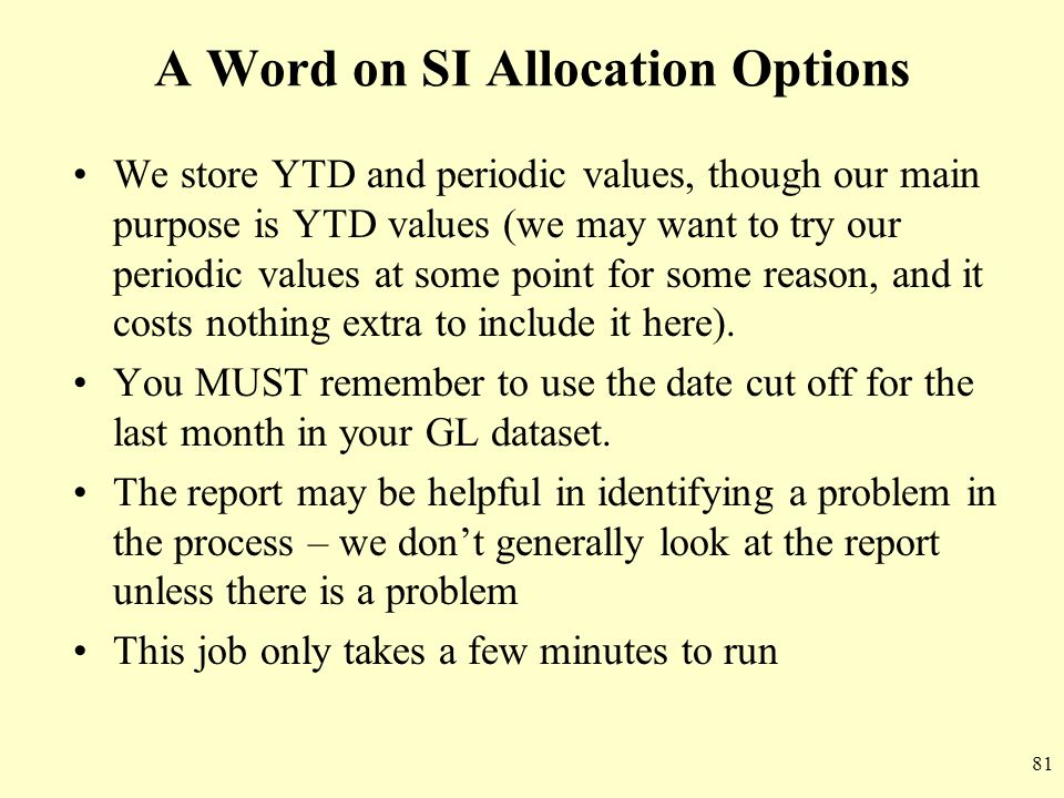 A Word on SI Allocation Options