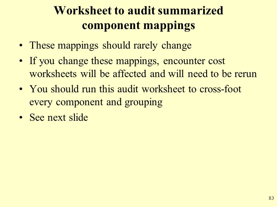Worksheet to audit summarized component mappings