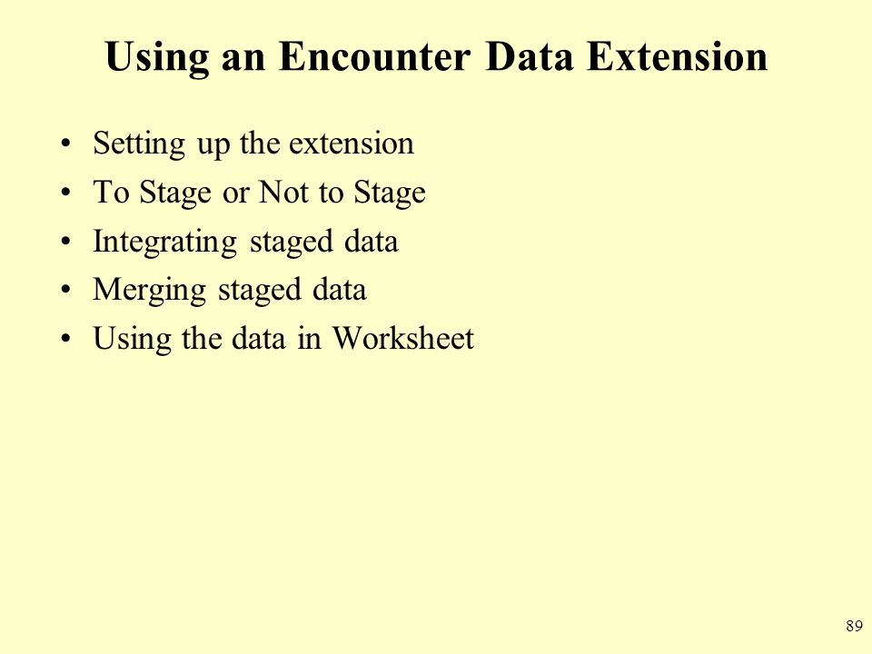 Using an Encounter Data Extension