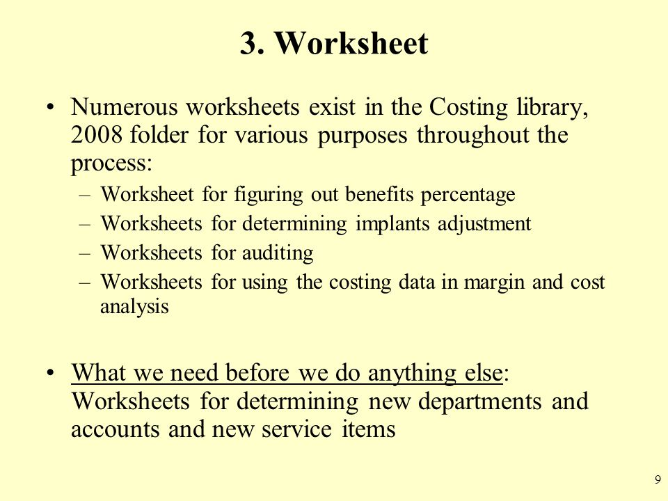 3. Worksheet Numerous worksheets exist in the Costing library, 2008 folder for various purposes throughout the process: