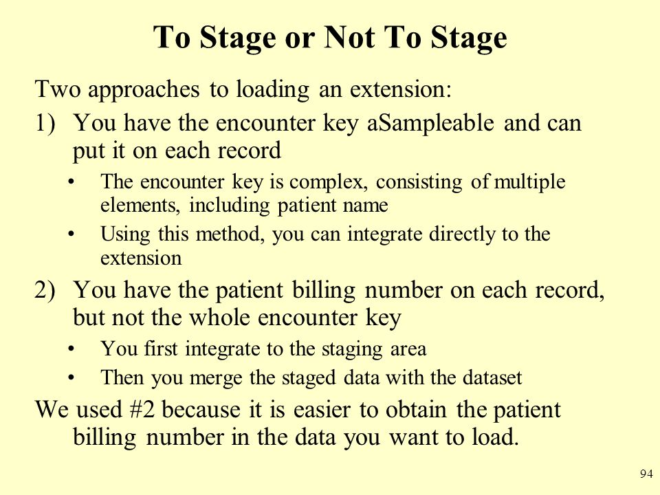 To Stage or Not To Stage Two approaches to loading an extension: