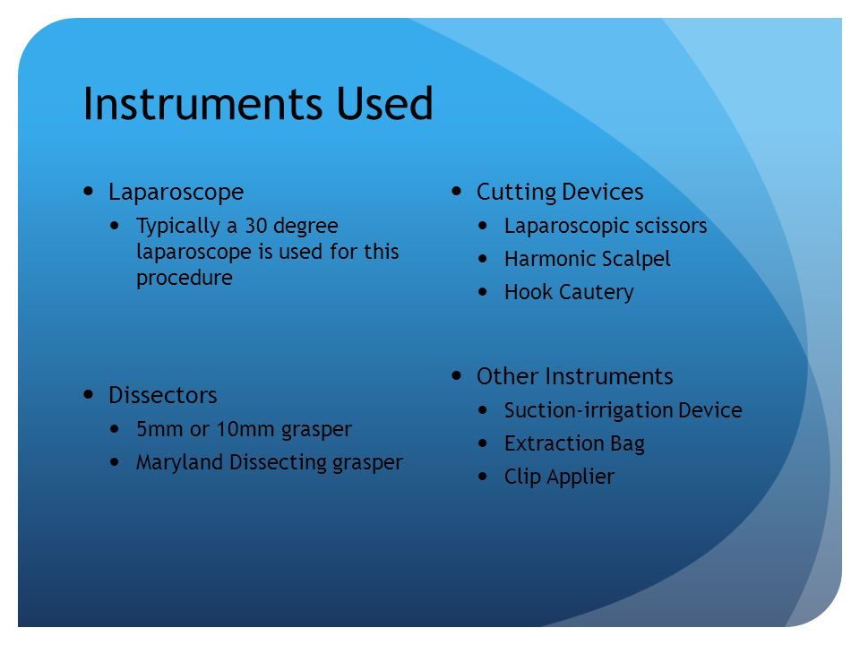 Instruments Used Laparoscope Dissectors Cutting Devices