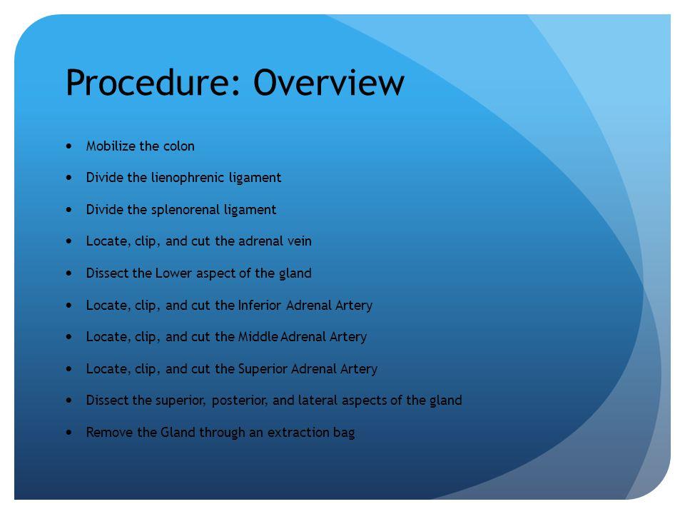 Procedure: Overview Mobilize the colon