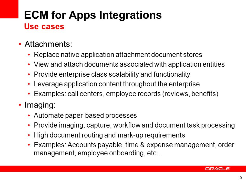 ECM for Apps Integrations Use cases
