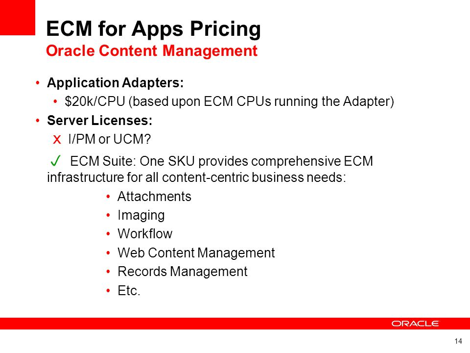 ECM for Apps Pricing Oracle Content Management