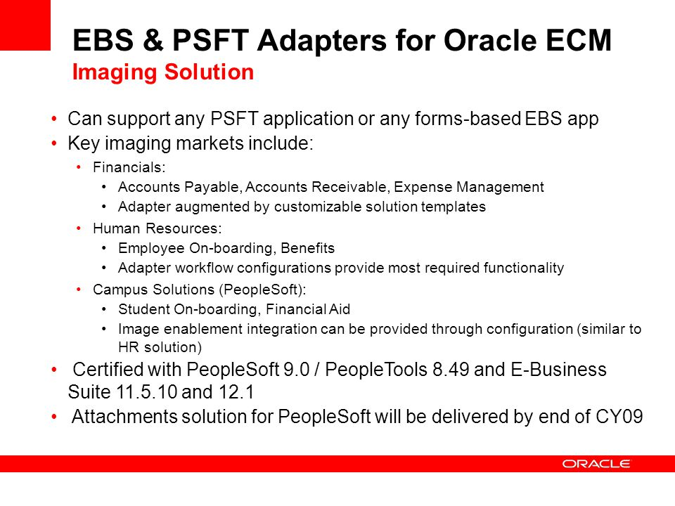 EBS & PSFT Adapters for Oracle ECM Imaging Solution