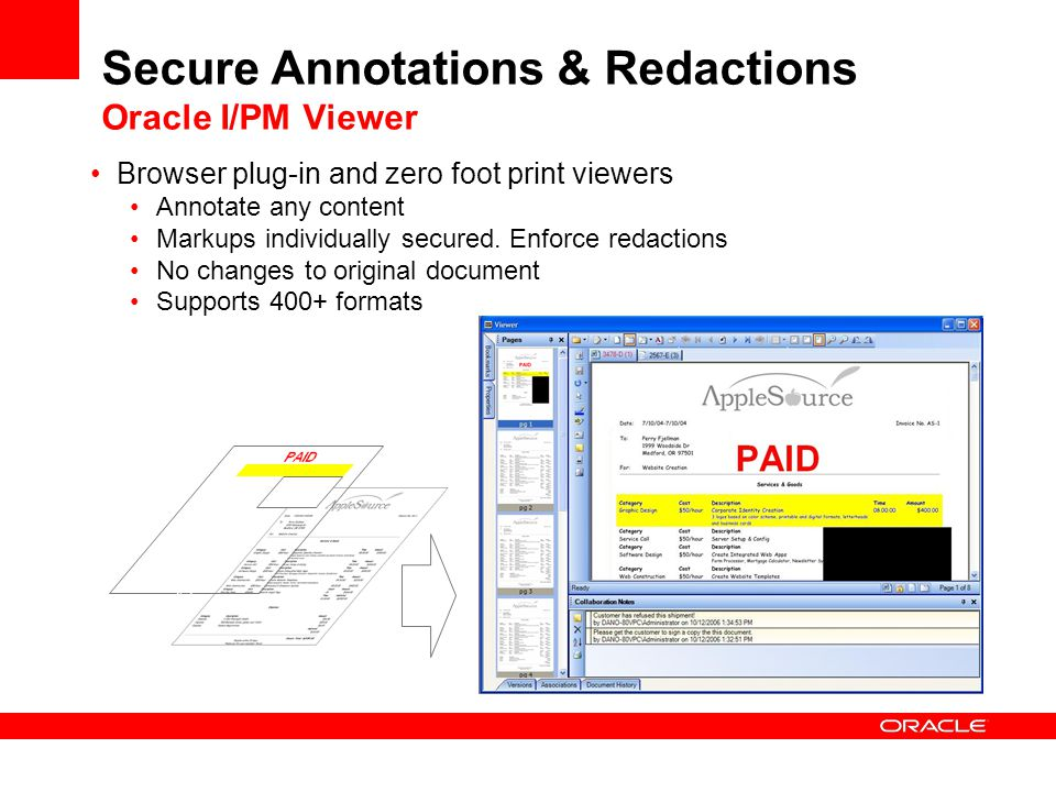Secure Annotations & Redactions Oracle I/PM Viewer