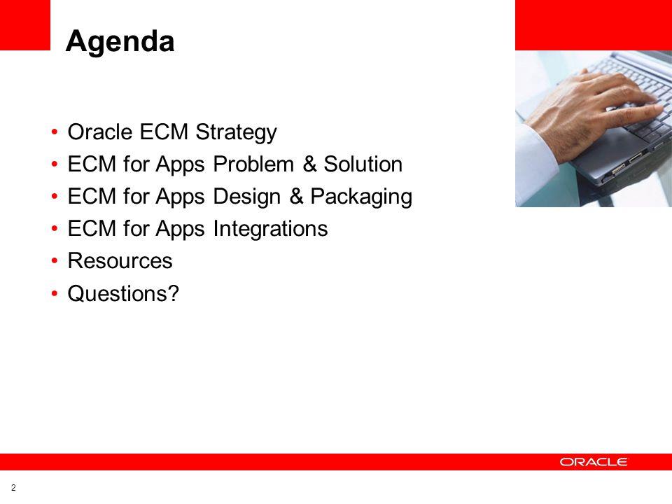 Agenda Oracle ECM Strategy ECM for Apps Problem & Solution