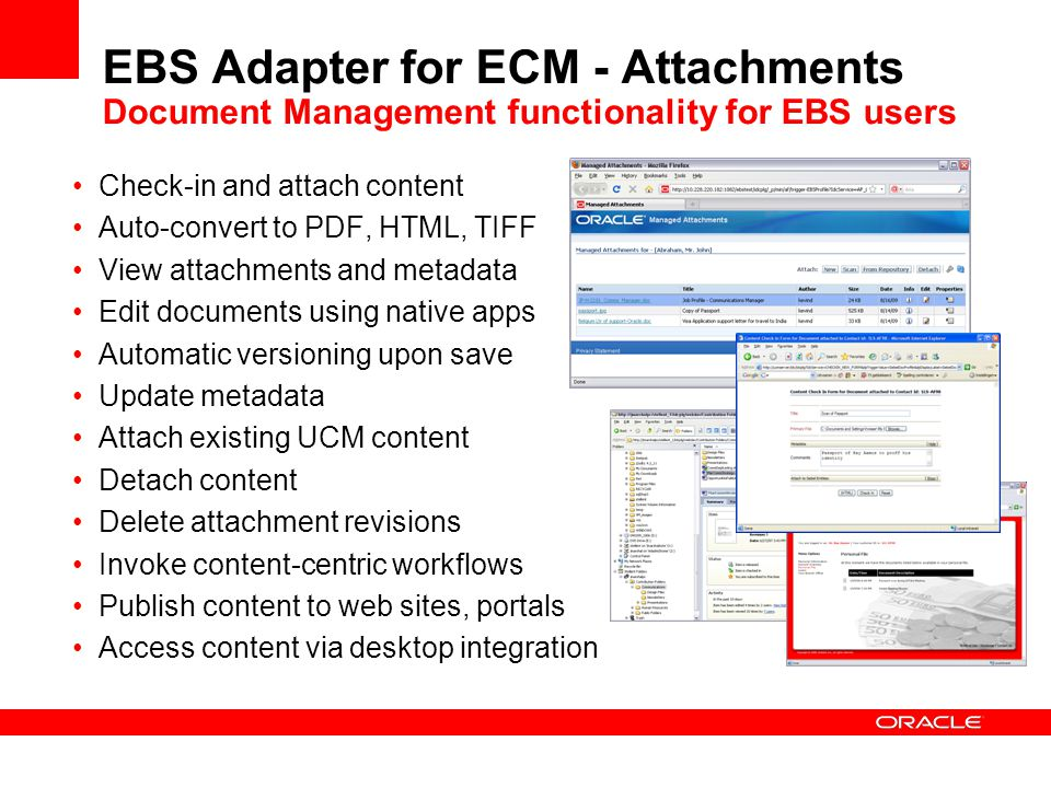 EBS Adapter for ECM - Attachments Document Management functionality for EBS users