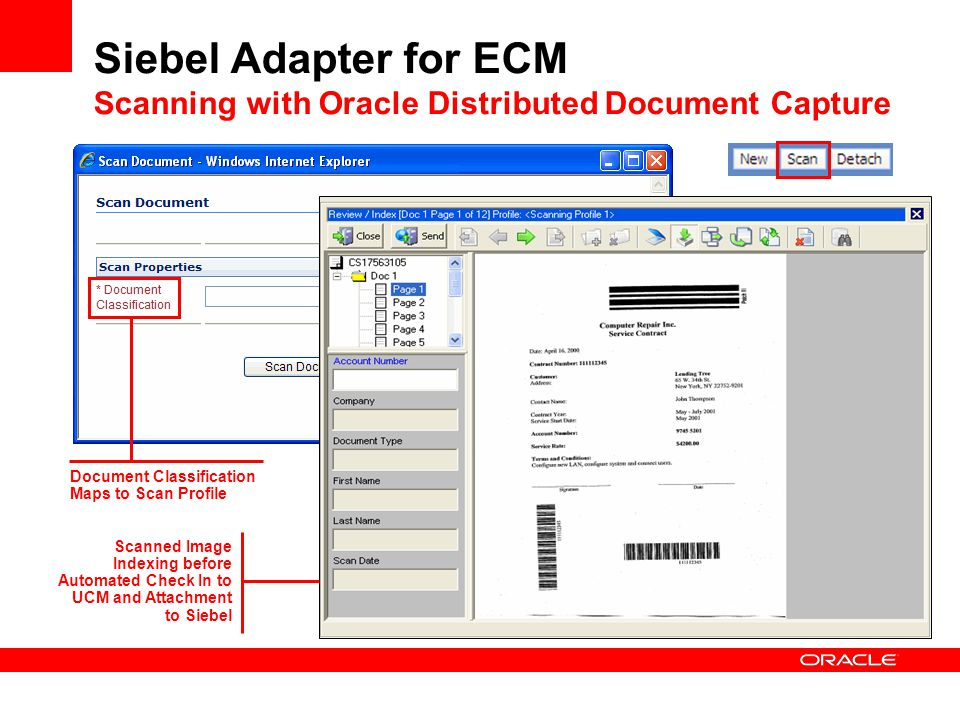 Siebel Adapter for ECM Scanning with Oracle Distributed Document Capture