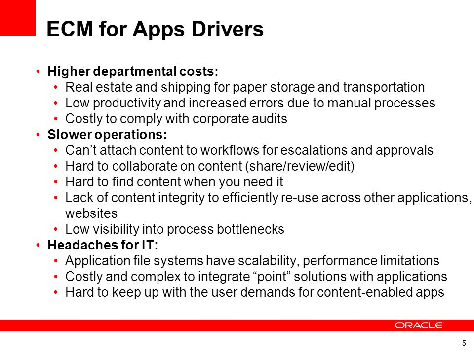 ECM for Apps Drivers Higher departmental costs: