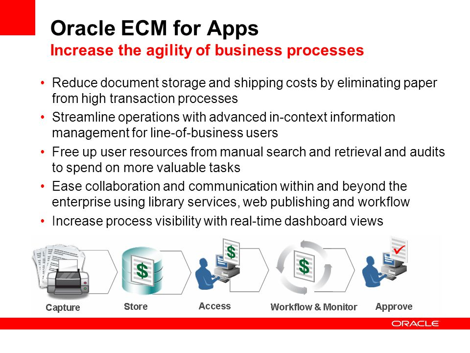 Oracle ECM for Apps Increase the agility of business processes