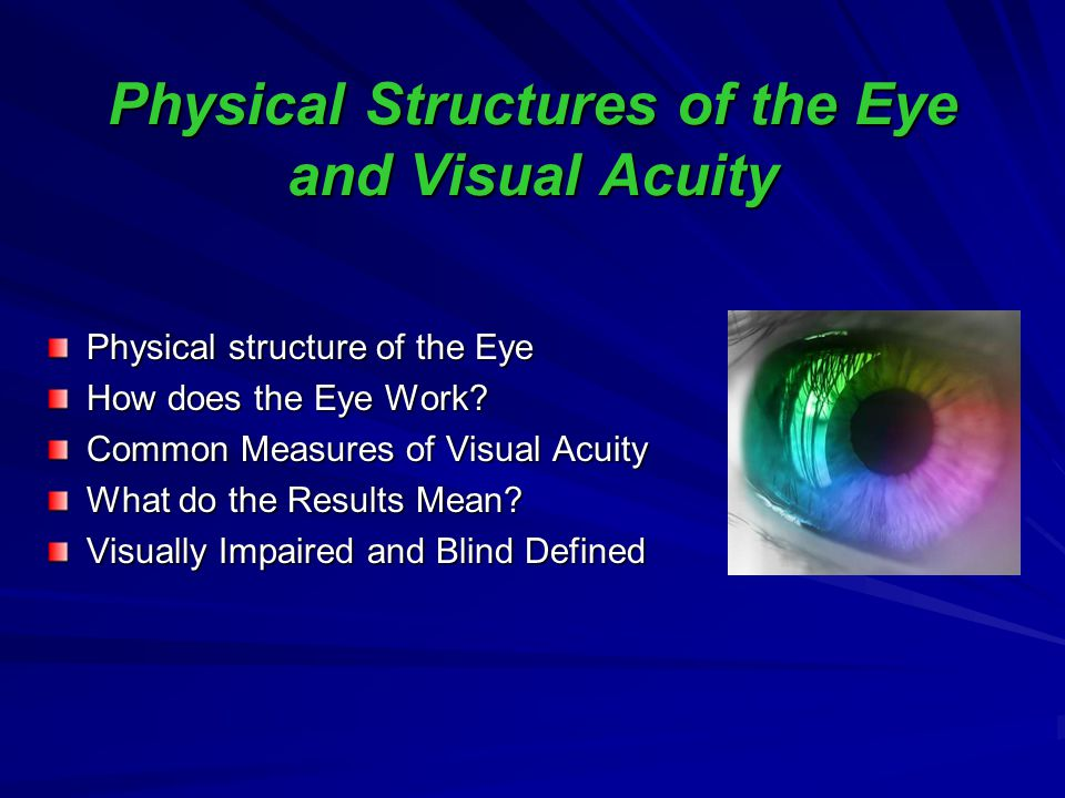 Physical Structures of the Eye and Visual Acuity