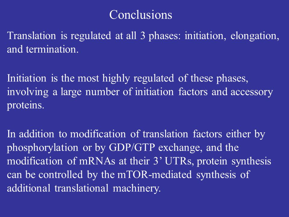 Conclusions Translation is regulated at all 3 phases: initiation, elongation, and termination.