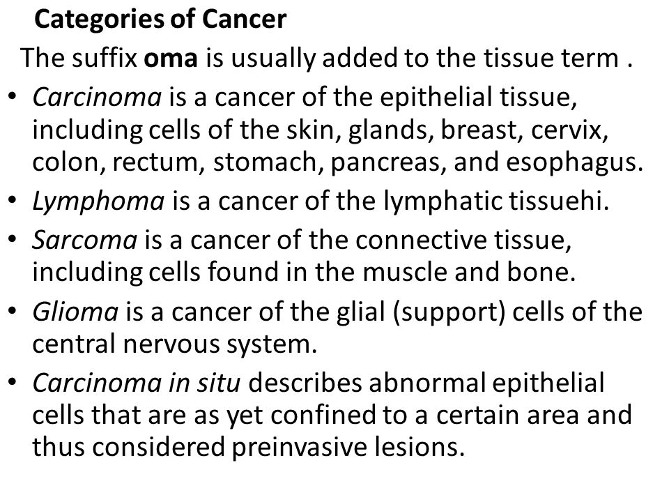 Categories of Cancer The suffix oma‌ is usually added to the tissue term .